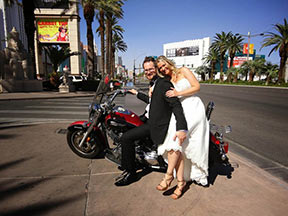 Paul & Linda with Motorcycle on Wedding Day